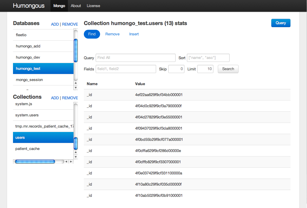 Humongous - Humongous also allows administrators to run queries on a MongoDB database