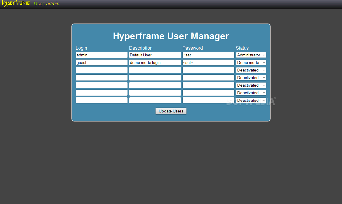 Hyperframe !CMS - The CMS comes with support for multiple users and different user roles