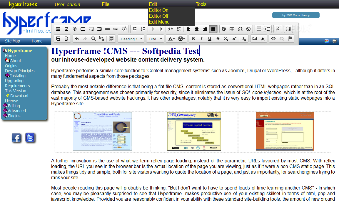 Hyperframe !CMS - An on-page editing toolbar is used for updating the pages' content