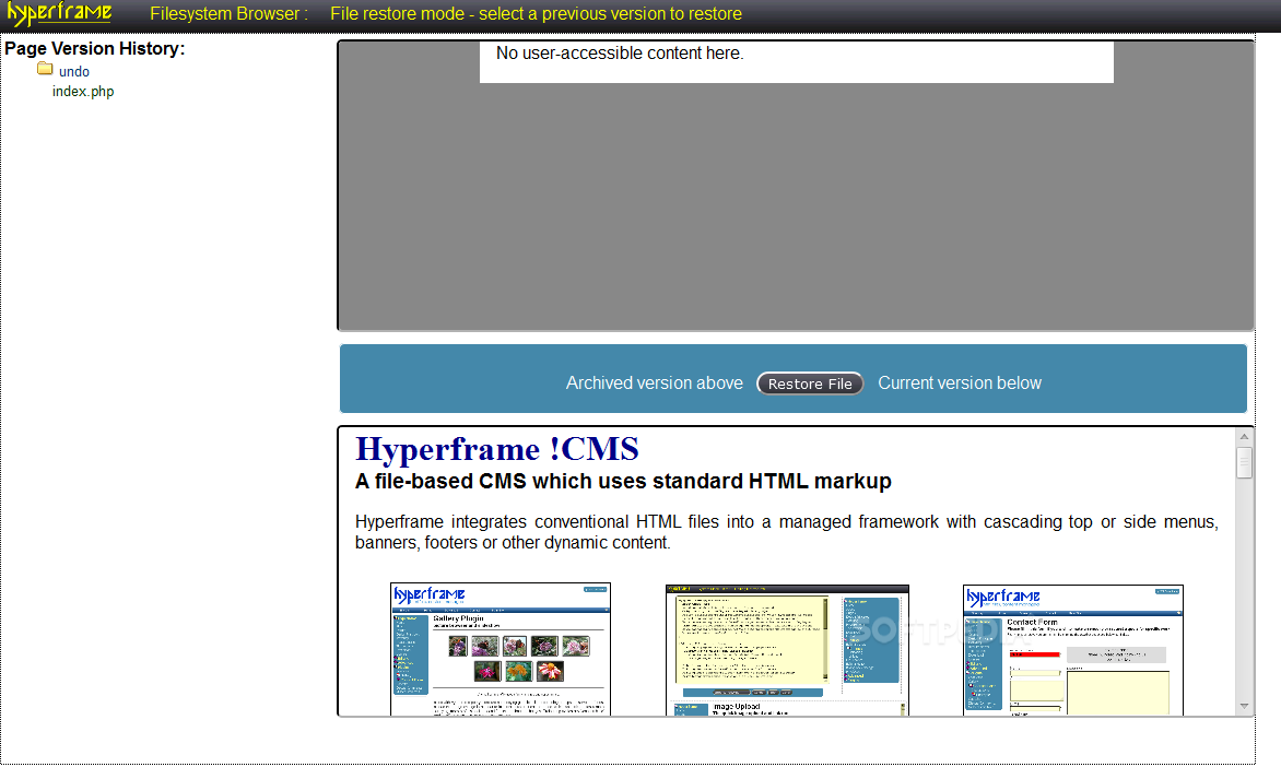 Hyperframe !CMS - Pages also store information about their past versions
