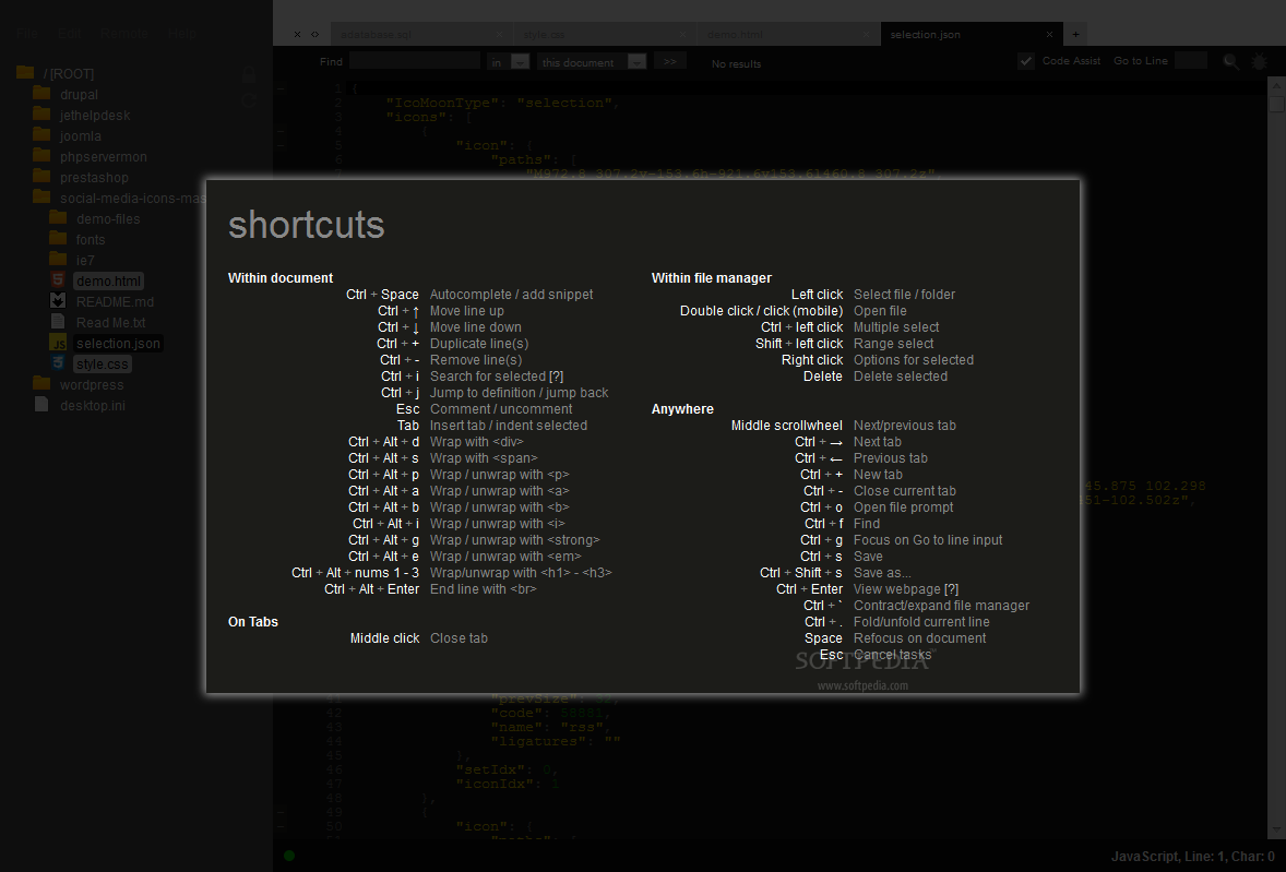 ICEcoder - Keyboard shortcuts are supported inside ICEcoder