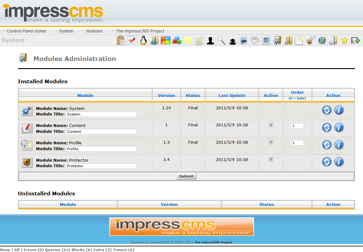 ImpressCMS - Module manager
