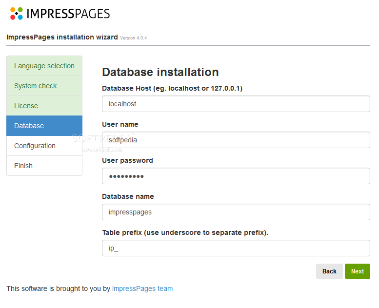 ImpressPages CMS - A simple installation wizard will help developers setup ImpressPages CMS on their servers