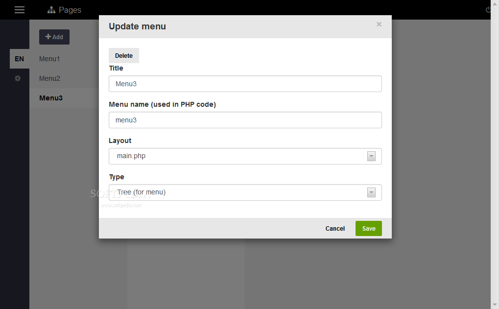 ImpressPages CMS - Menu option and page details can be tweaked in depth