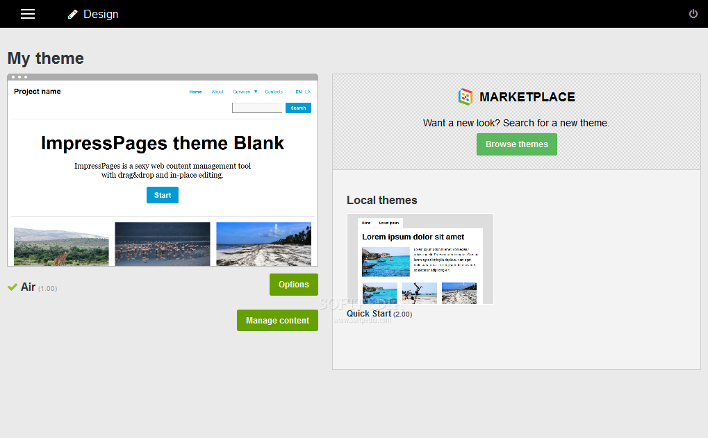 ImpressPages CMS - ImpressPages CMS can be easily styled using pre-built themes