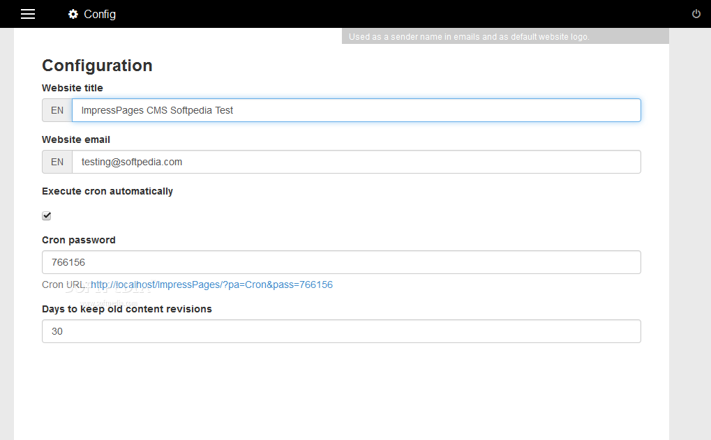 ImpressPages CMS - Lots of other CMS settings can be tweaked from the ImpressPages config section