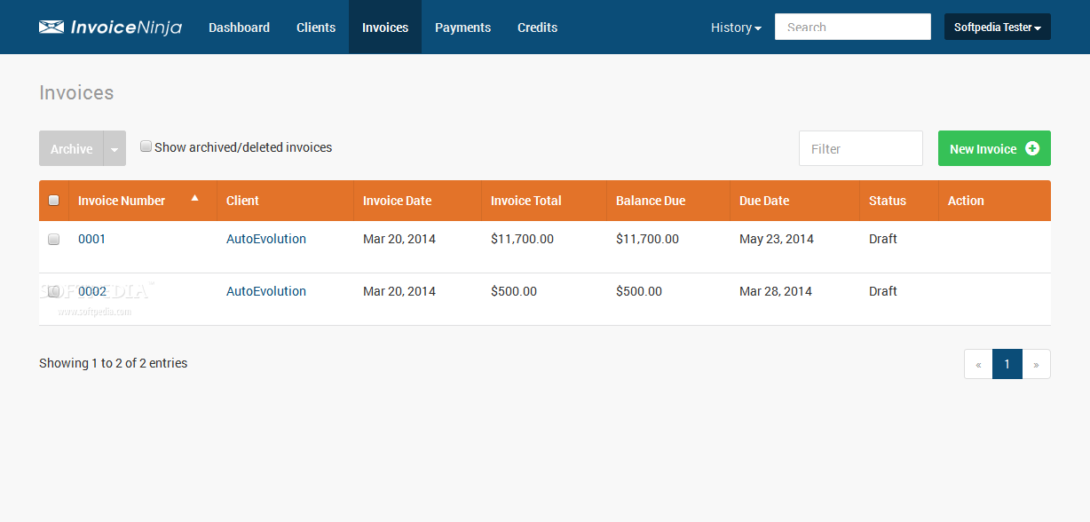 Invoice Ninja - Invoice Ninja allows users to create and issue multiple invoices at the same time