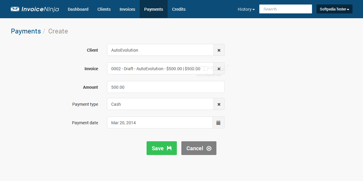 Invoice Ninja - Adding payment entries is also very easy via the Invoice Ninja interface