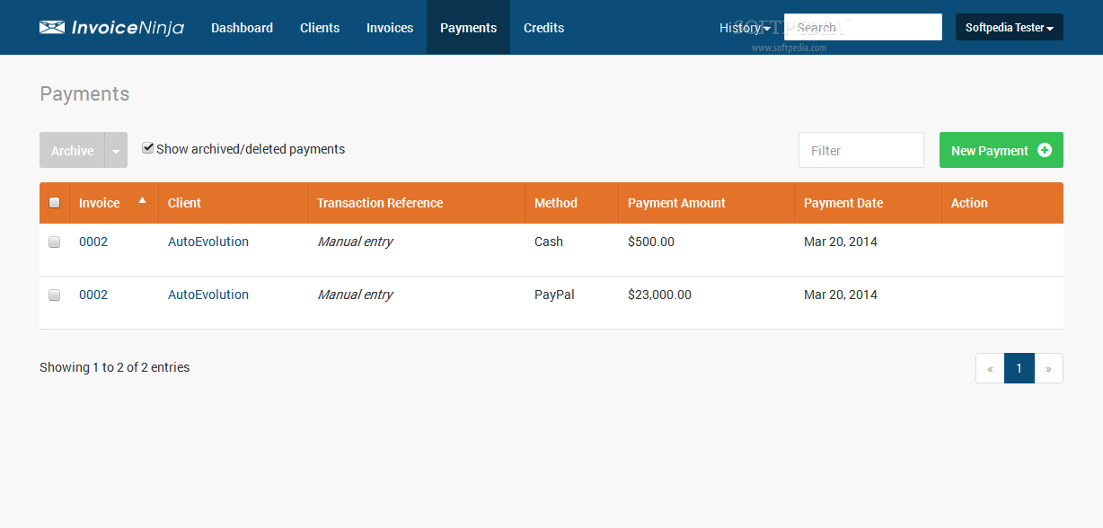 Invoice Ninja - The payments center shows all recently entered client payments