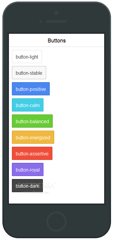 Ionic - The Ionic framework comes with plenty of ways to build and display buttons in a mobile app