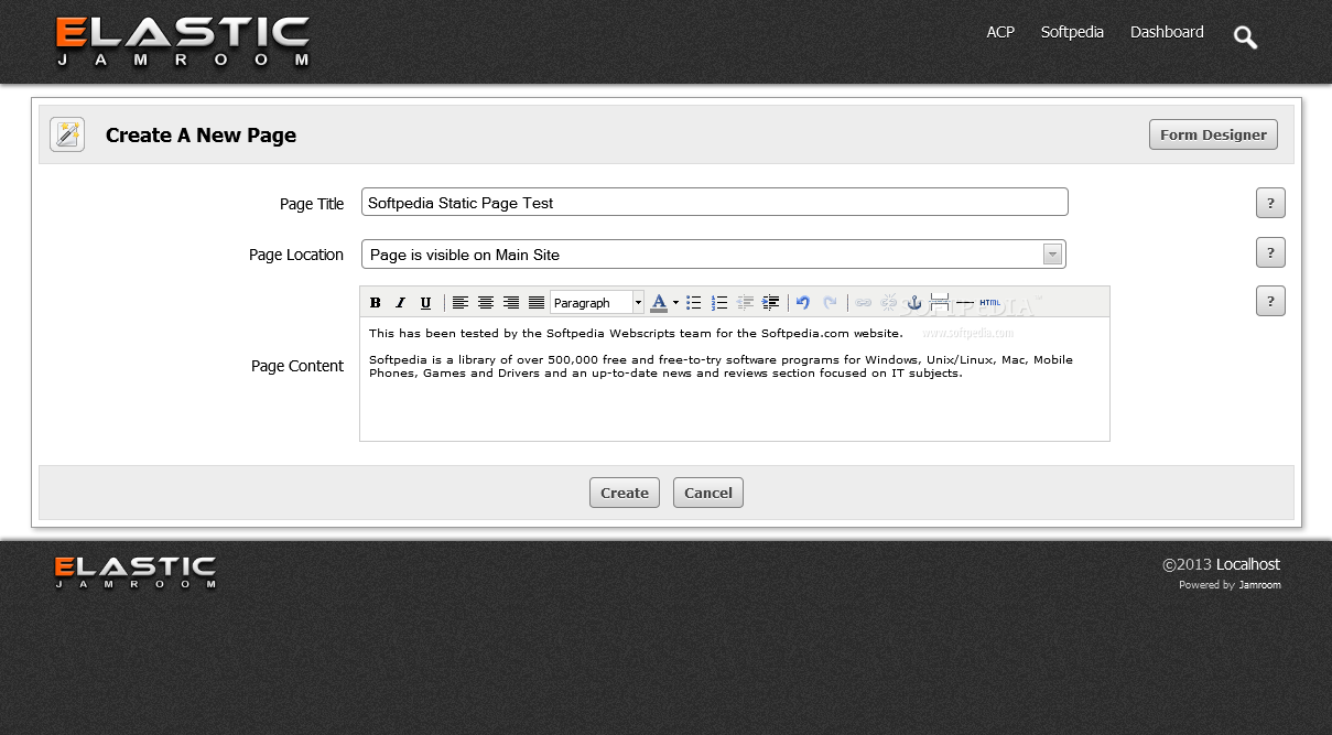 Jamroom - Adding static pages is also supported via a WYSIWYG editing experience