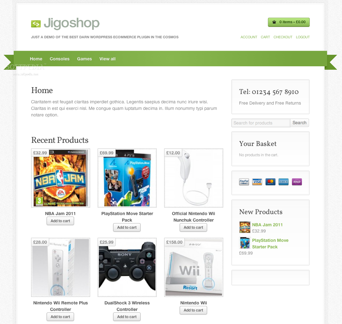 Jigoshop - Shop homepage