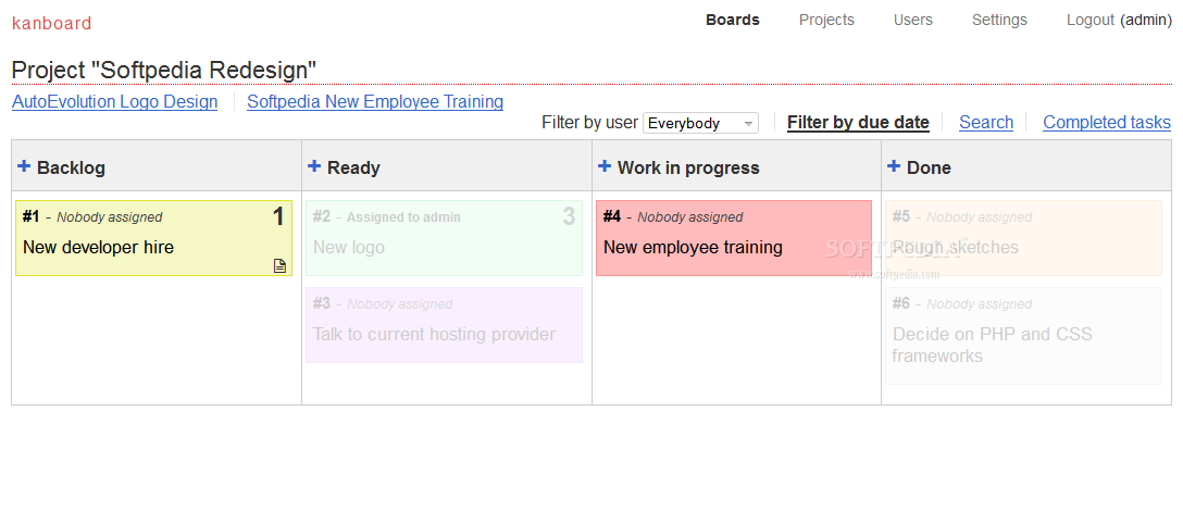 Kanboard - Tasks and to-dos can be filtered by their due dates