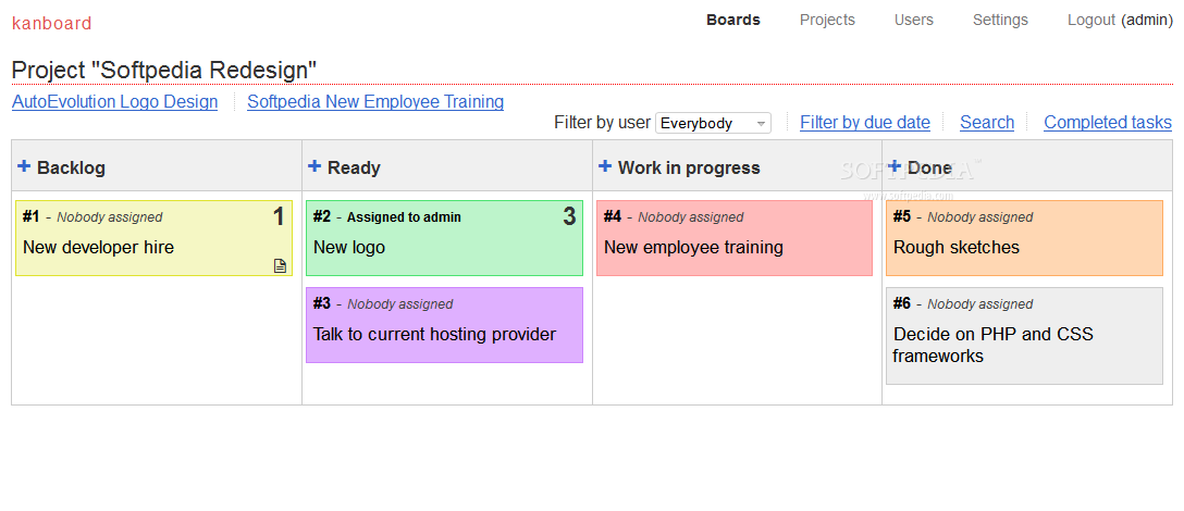 Kanboard - Each project has its own board with tasks and to-dos