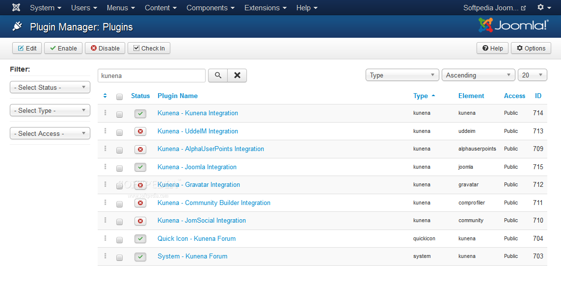 Kunena - Kunena adds various plugins to the Joomla core, which can be activated and deactivated when needed