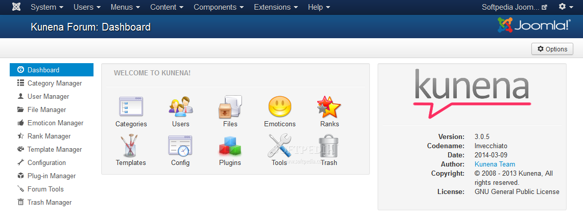Kunena - The Kunena Forum comes with its own dashboard in the Joomla backend