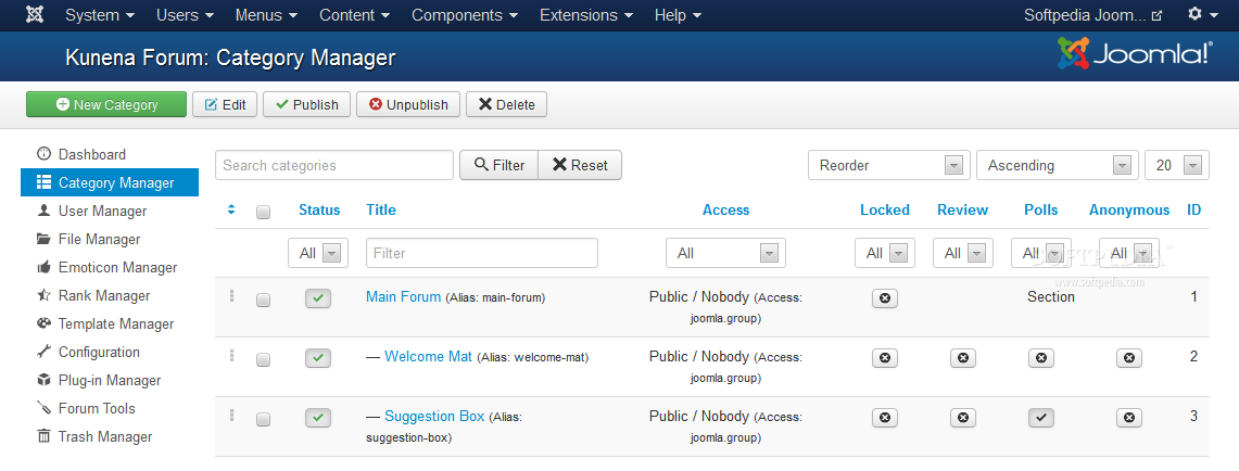 Kunena - Forums can be organizes and categorized based on topics