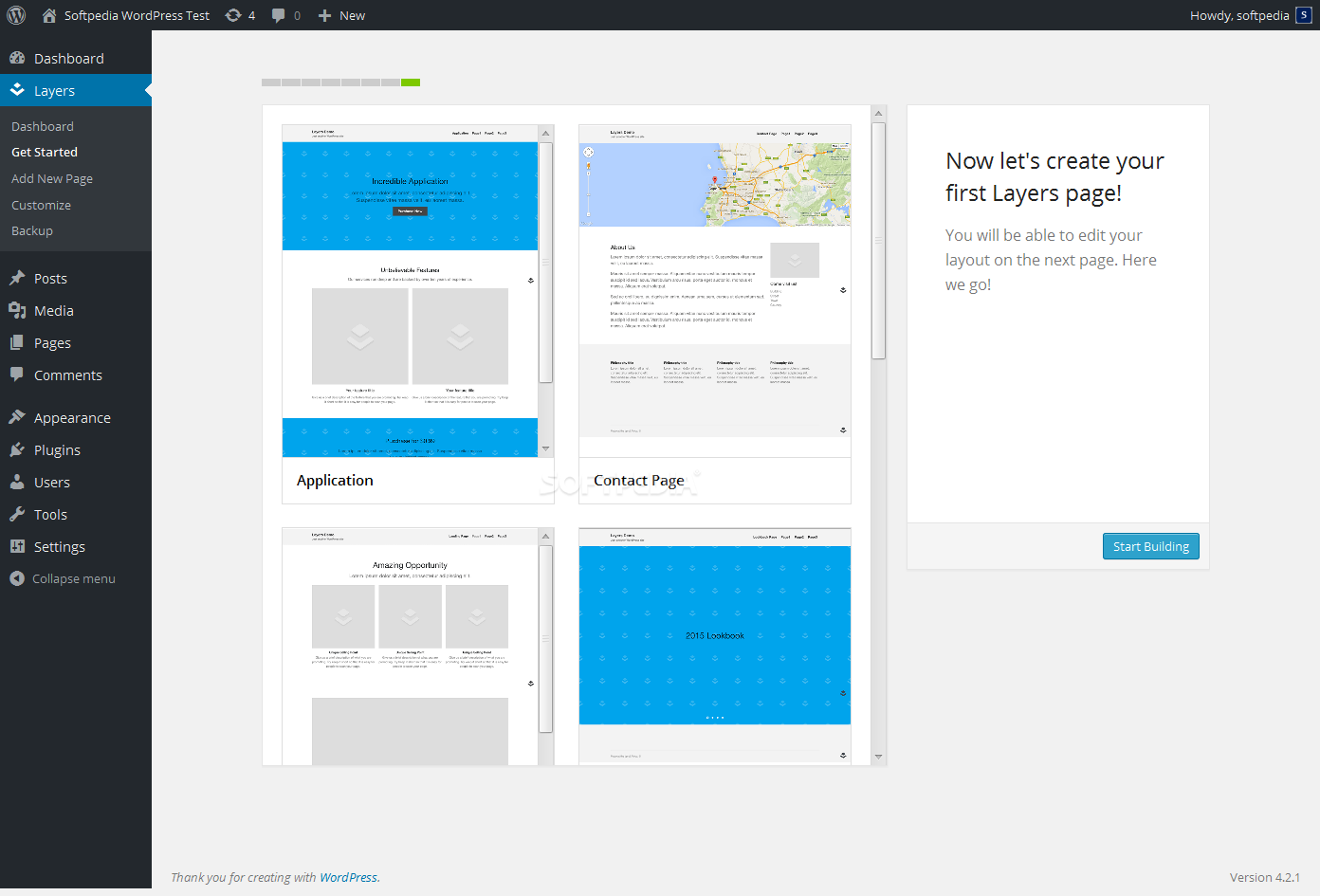 Layers - Adding new pages is very easy using the pre-built Layers page templates