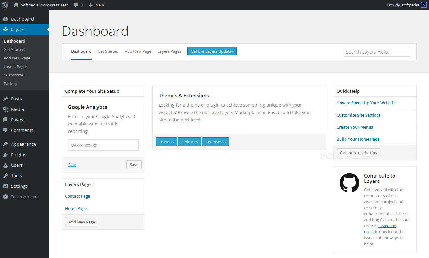 Layers - Once everything setup, a special dashboard is included for managing the Layers data