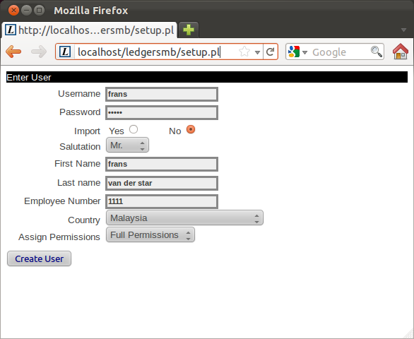 LedgerSMB - The LedgerSMB admin is created during the installation process, right after database setup