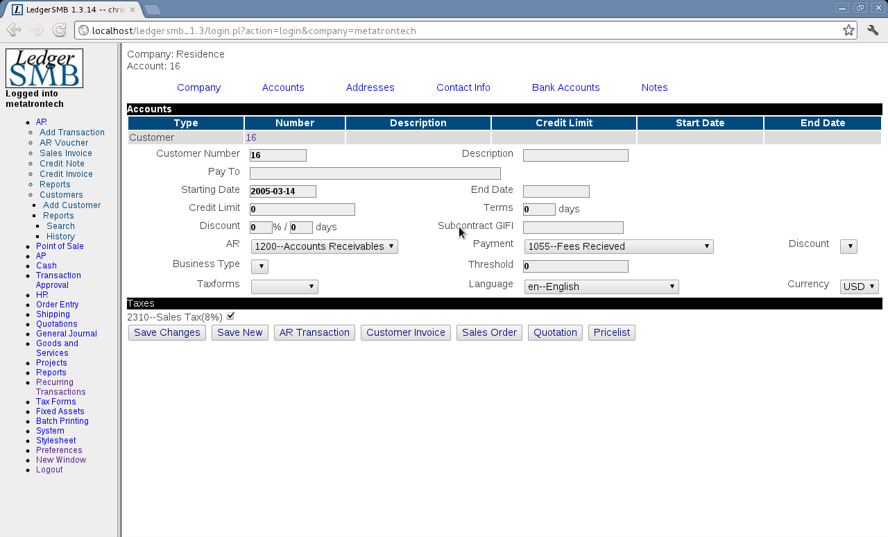 LedgerSMB - LedgerSMB can manage a business' client and customer data (contact details here)