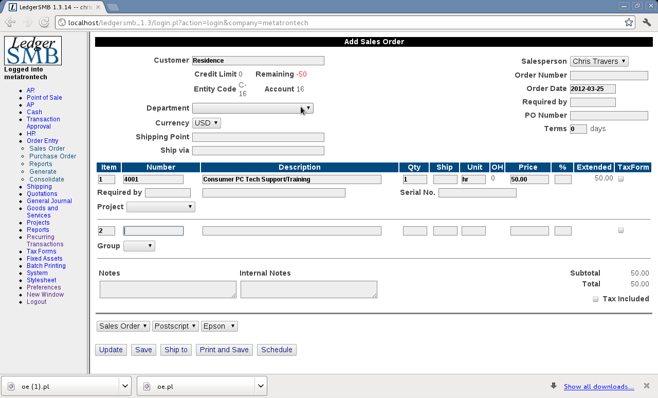 LedgerSMB - LedgerSMB also handles orders and sales quotas as well
