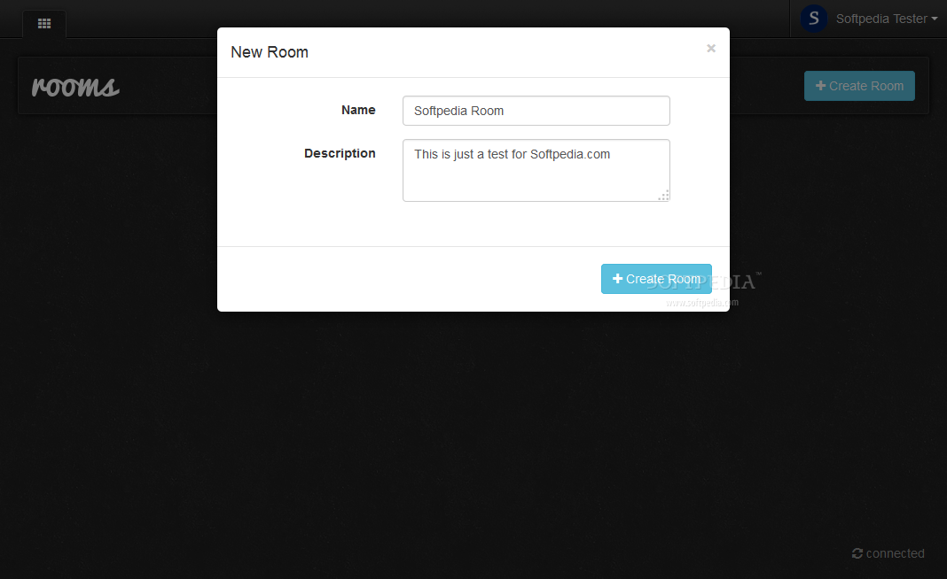 Let's Chat - Once logged in, users can create their own chat rooms