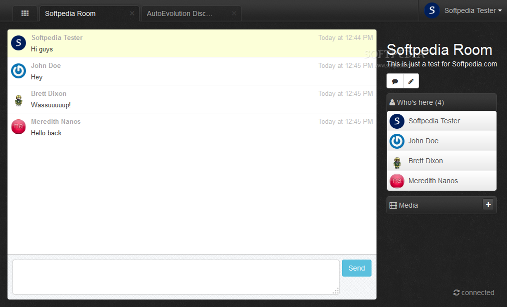 Let's Chat - Each chat room features a simple to use, classic interface
