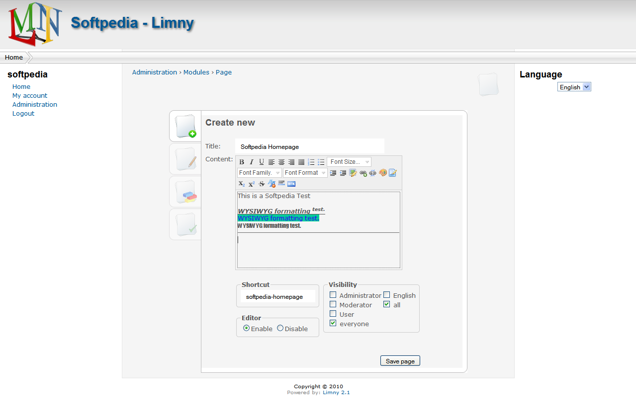 Limny - Creating a new page