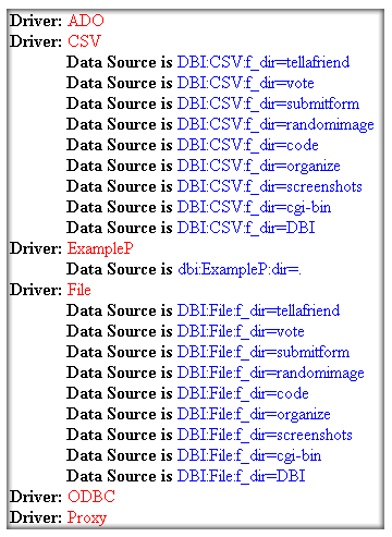 List all Available DBI Drivers and Data Sources screenshot 1