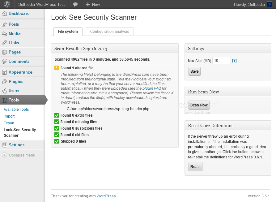 Look-See Security Scanner - Once finished, they will provide a small insight on various problems for the WP installation