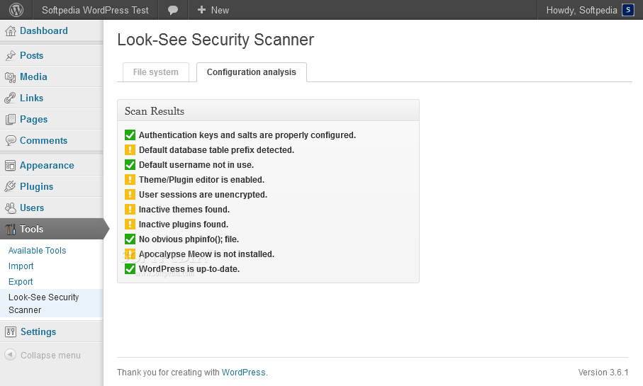 Look-See Security Scanner - Various configuration details can be checked and fixed with the Look-See Security Scanner plugin