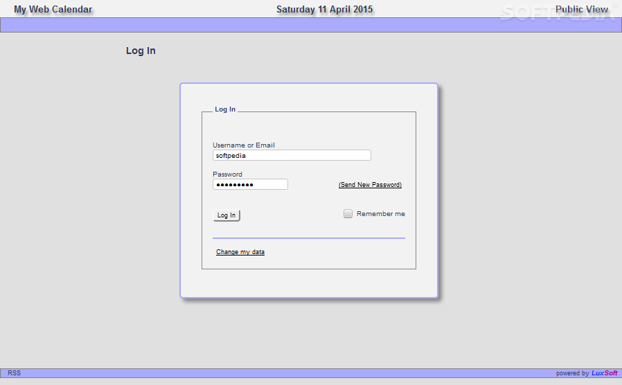 LuxCal - MySQL - The calendar's admin panel is very well secured with a password