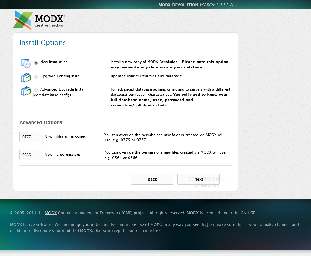 MODx Revolution - MODx Revolution features an easy to use installation assistant