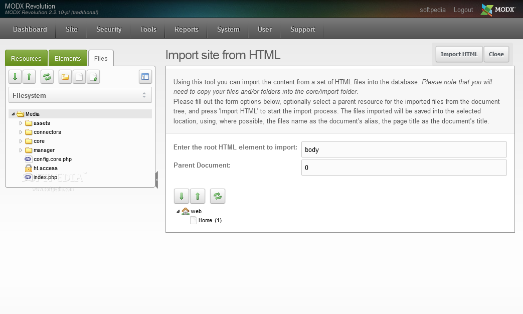 MODx Revolution - MODx Revolution can import content from a static HTML website