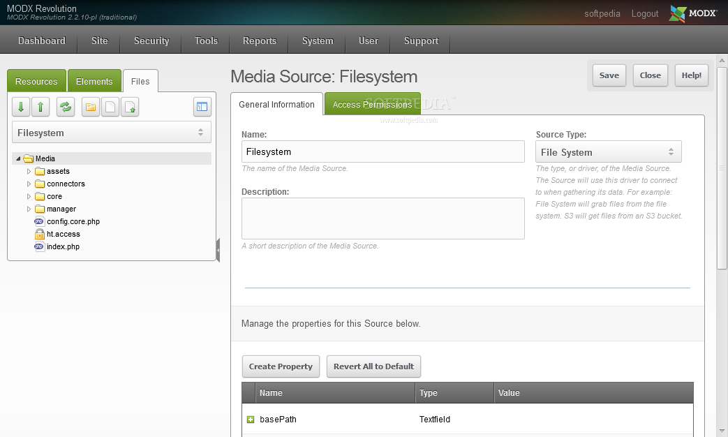 MODx Revolution - Media sources can be edited and added to the built-in file manager