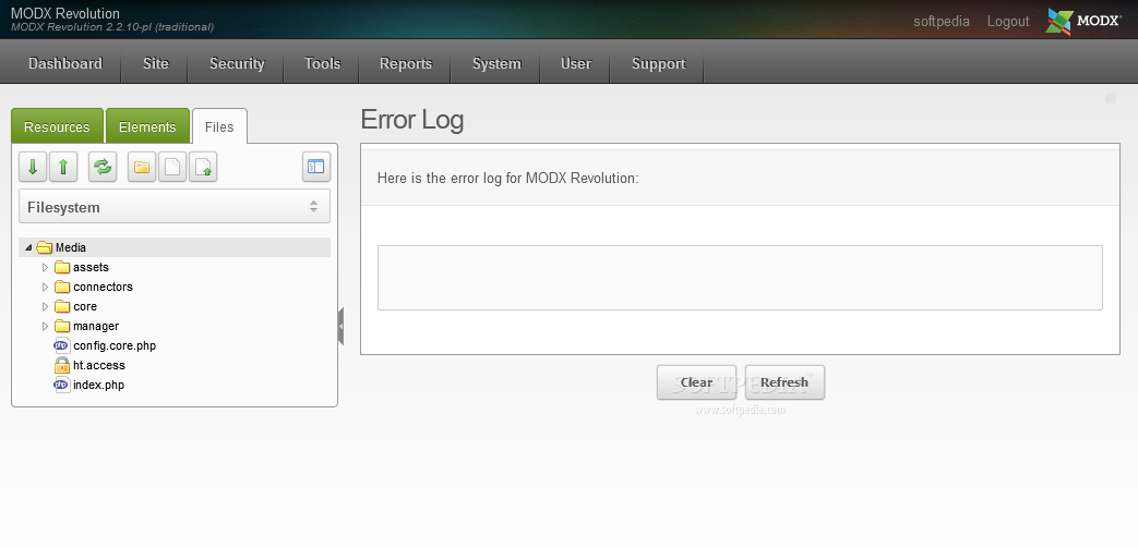 MODx Revolution - An error and system logging tool is included for easy CMS debugging