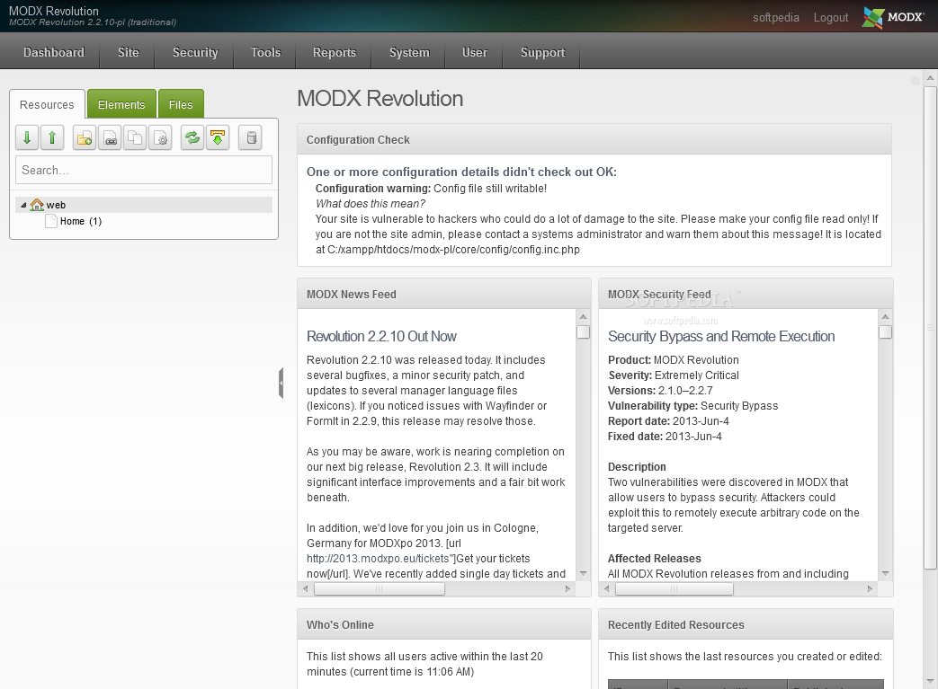 MODx Revolution - Once logged in, the admin dashboard provides an introspective over recent website activity
