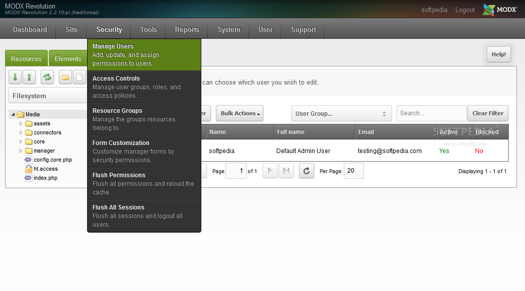 MODx Revolution - CMS users can be managed from the MODx Revolution admin panel