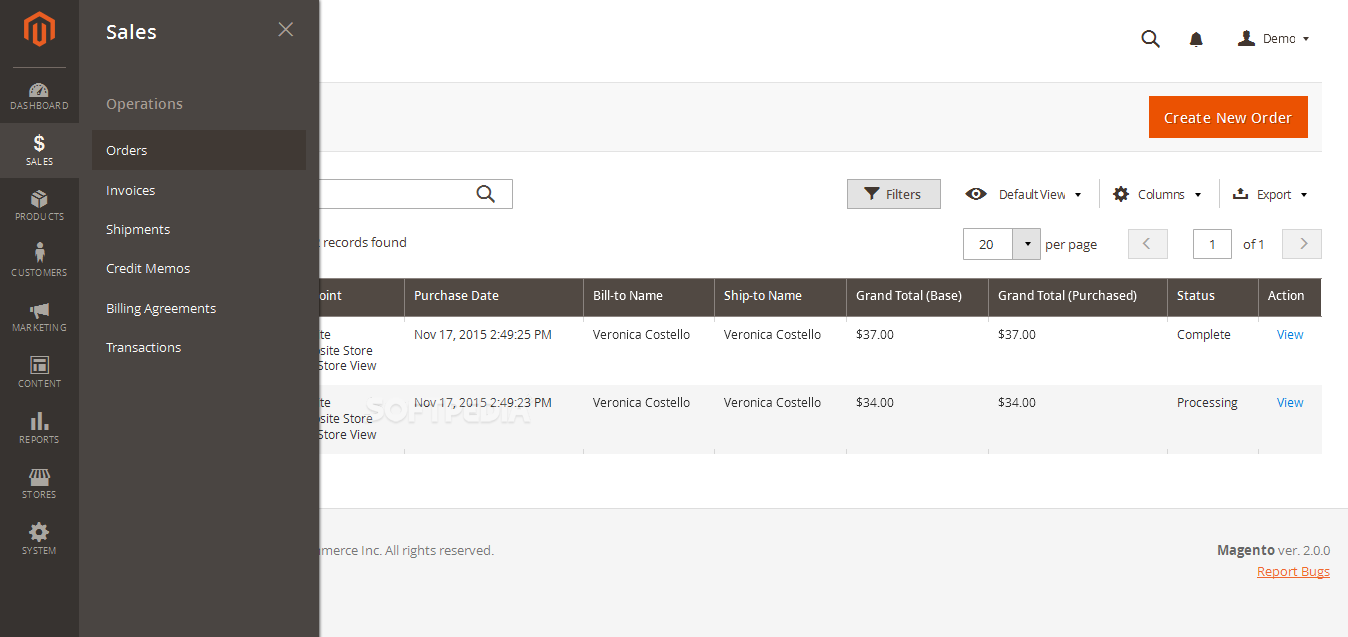 Magento Community Edition - Admins can manage any facet of their shop inside the Magento 2.0 dashboard