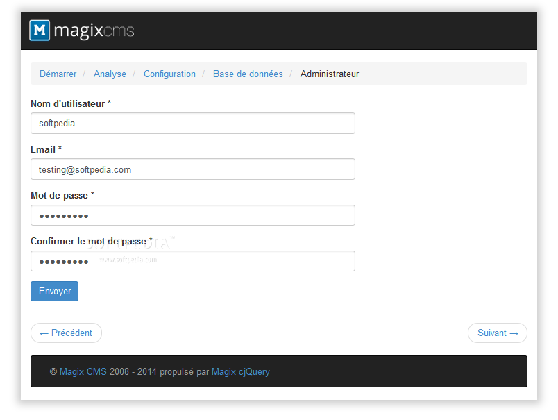 Magix CMS - Admin credentials are set during the installation process
