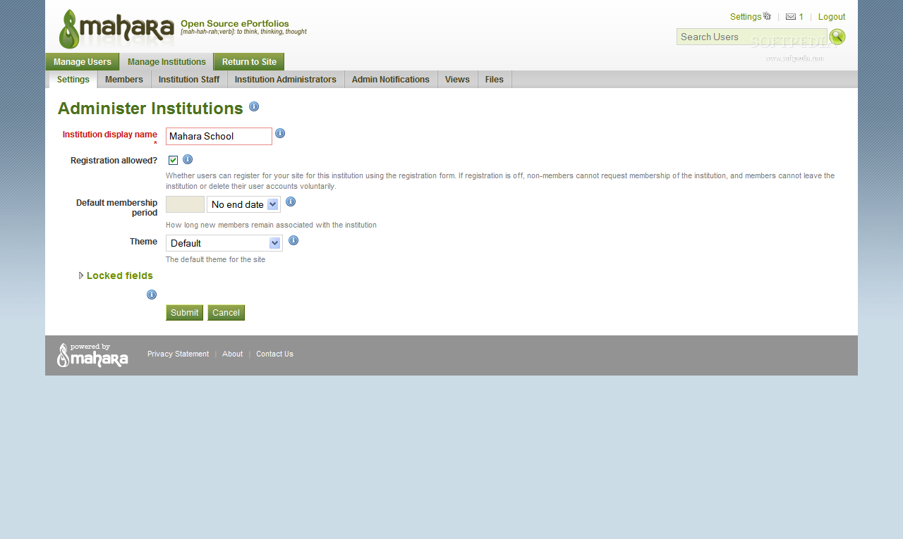 Mahara - Institution settings and configuration