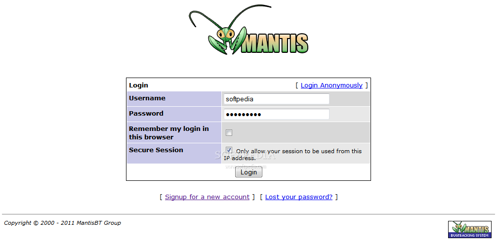 Mantis - Protected login system