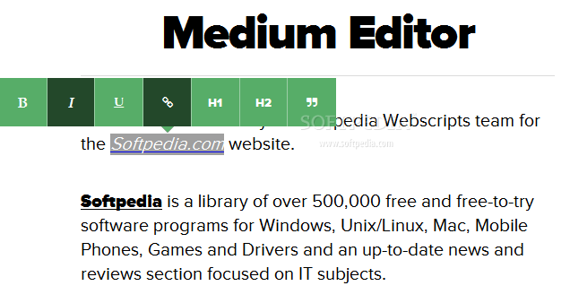 Medium Editor - Medium Editor is also easy to style - Flat theme