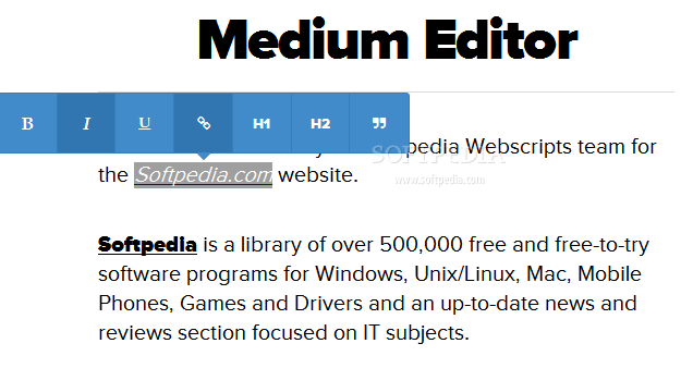 Medium Editor - Medium Editor is also easy to style - Bootstrap theme