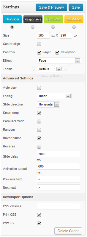 Meta Slider - Flex Slider settings can be tweaked at will