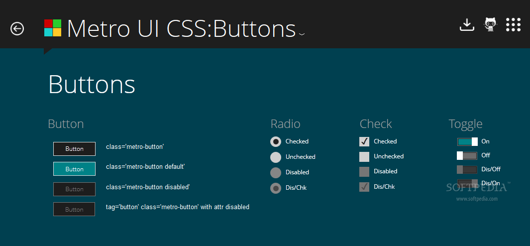 Metro UI CSS - A basic button pack is included with Metro UI CSS if ever needed