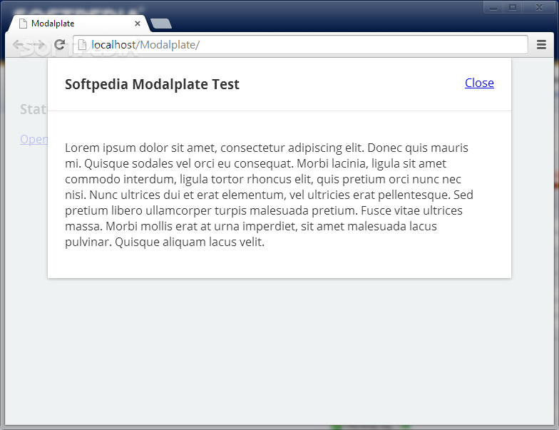 Modalplate - Modalplate is a jQuery plugin for showing simple modal windows at the top of the page
