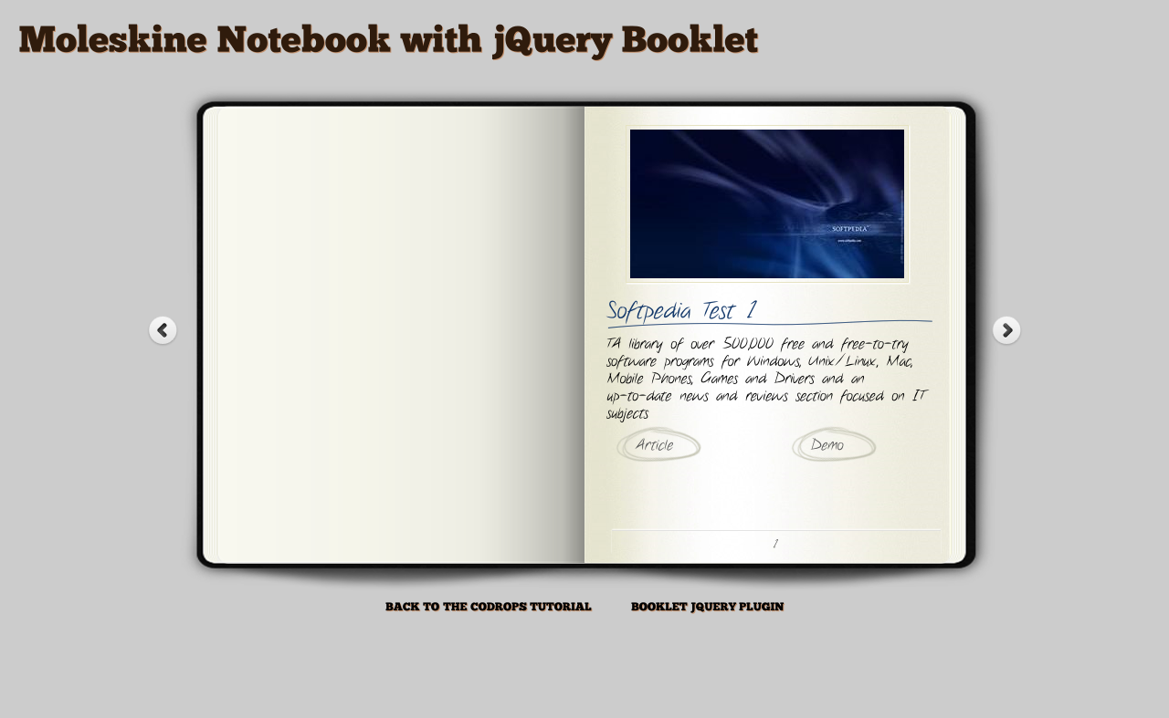 Moleskine Notebook with jQuery Booklet Download