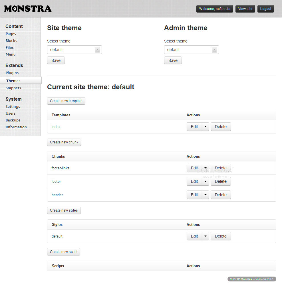 Monstra CMS screenshot 10